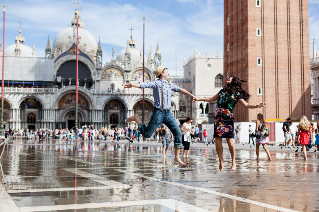 jumping on high waters in San Marco square