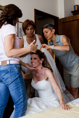 fitting the bridal dress