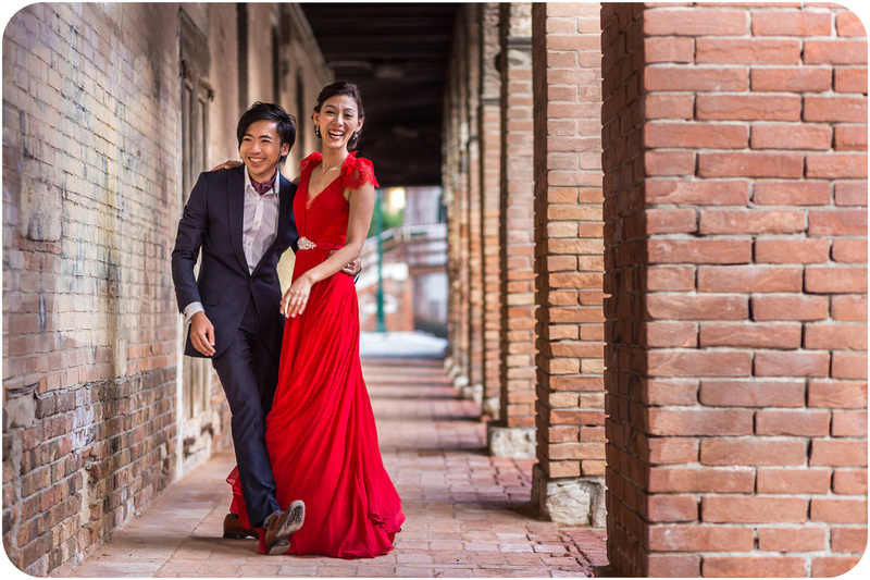 couple joking during pre wedding photo session in Venice