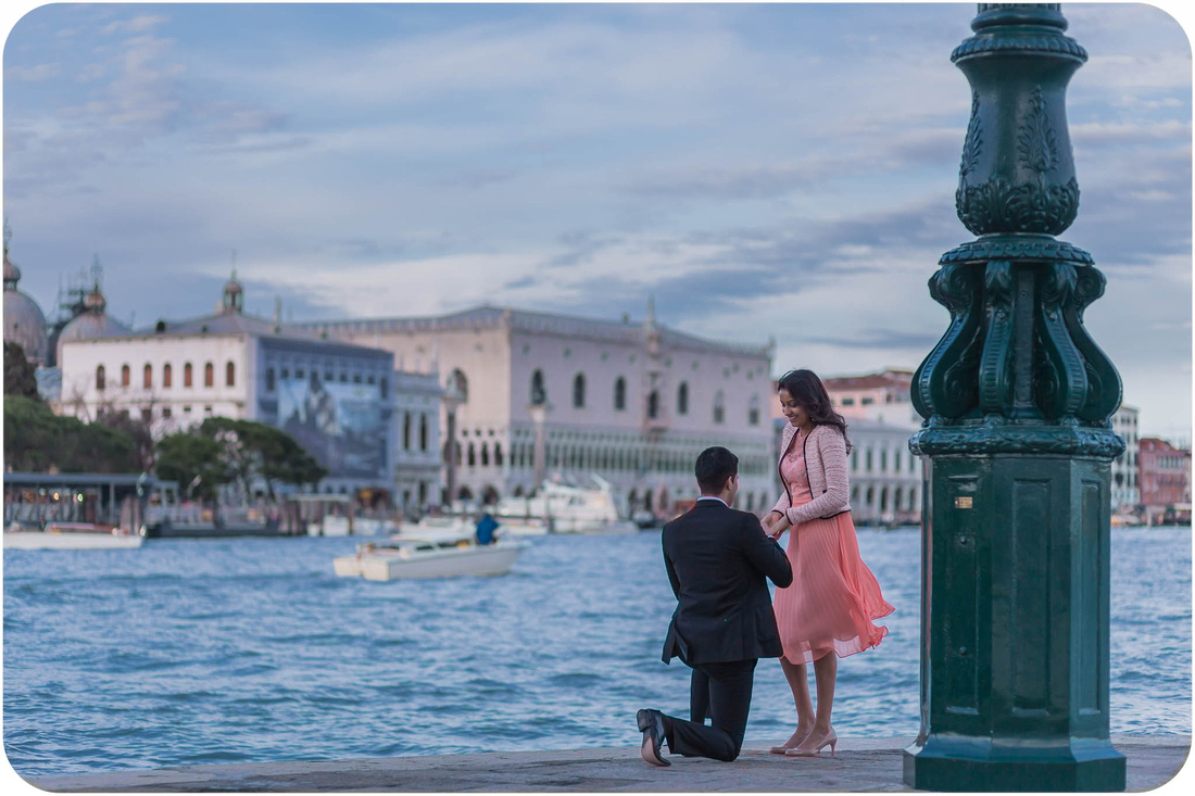 wedding proposal in venice captured by professional engagement photographer