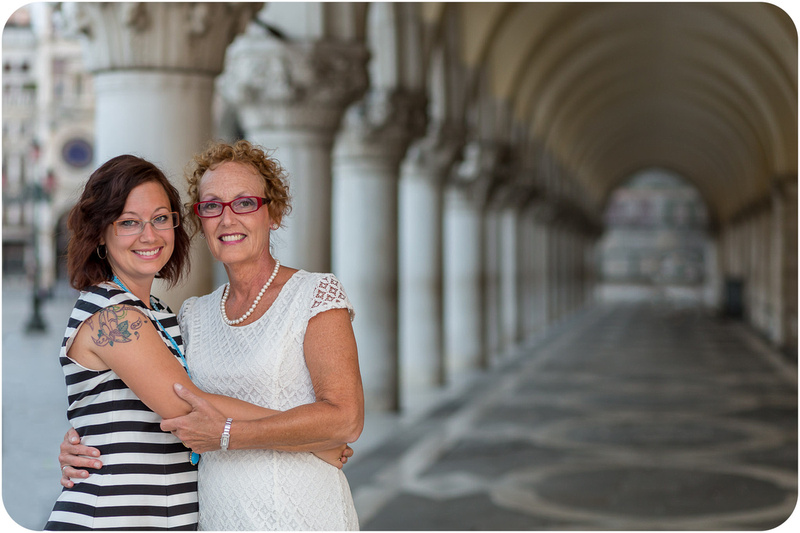 daugther and mother hug during family photo session in Venice