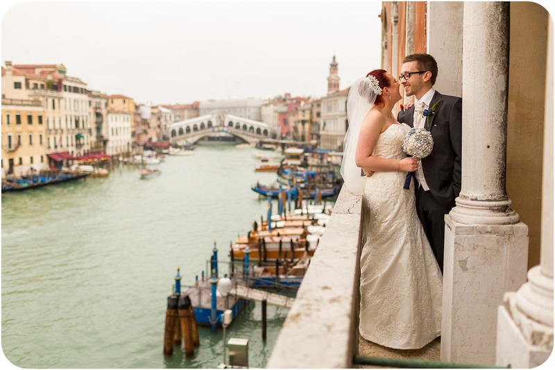 bride and groom on Palazzo Cavalli's terrace after wedding ceremony in Venice
