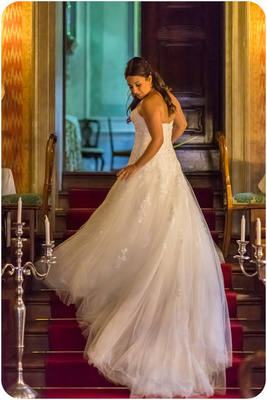 bride with bridal gown during symbolic wedding photo service in Venice