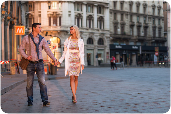 Russian couple hugging during photo walk in Milan