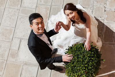 just-married Asian couple shot from above