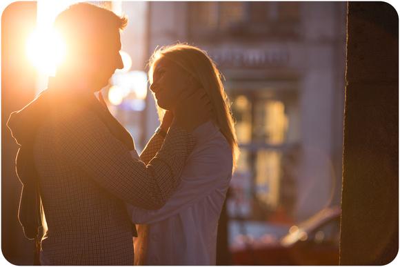 romantic photograph of Russian couple hugging
