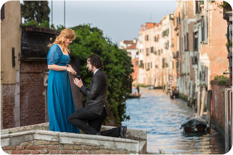gentleman proposes on a bridge during wedding proposal photo servcie in venice