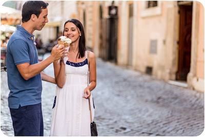 couple eating ice cream during honeymoon photo service