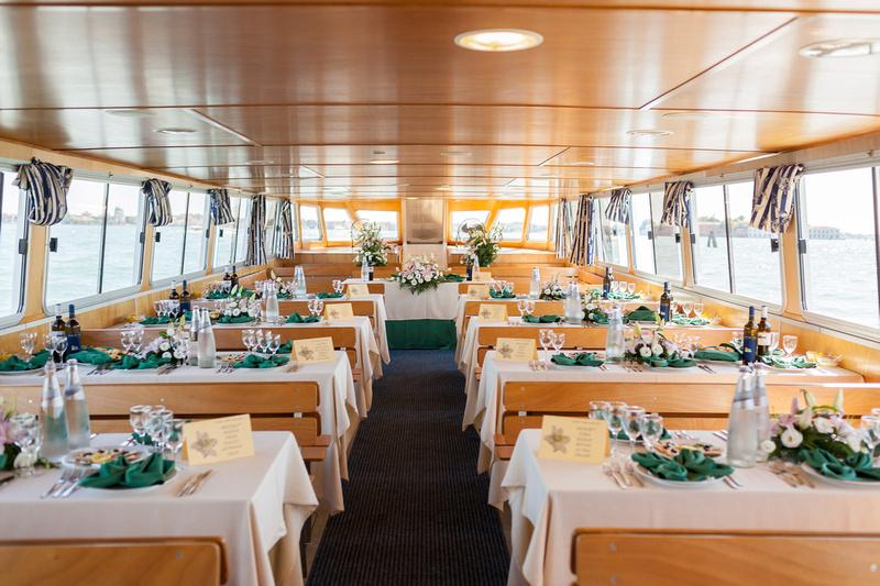 boat interior during wedding reportage in Venice