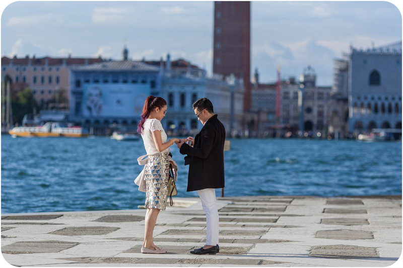 would-be husband delivers wedding proposal during surprise engagement photo service in Venice