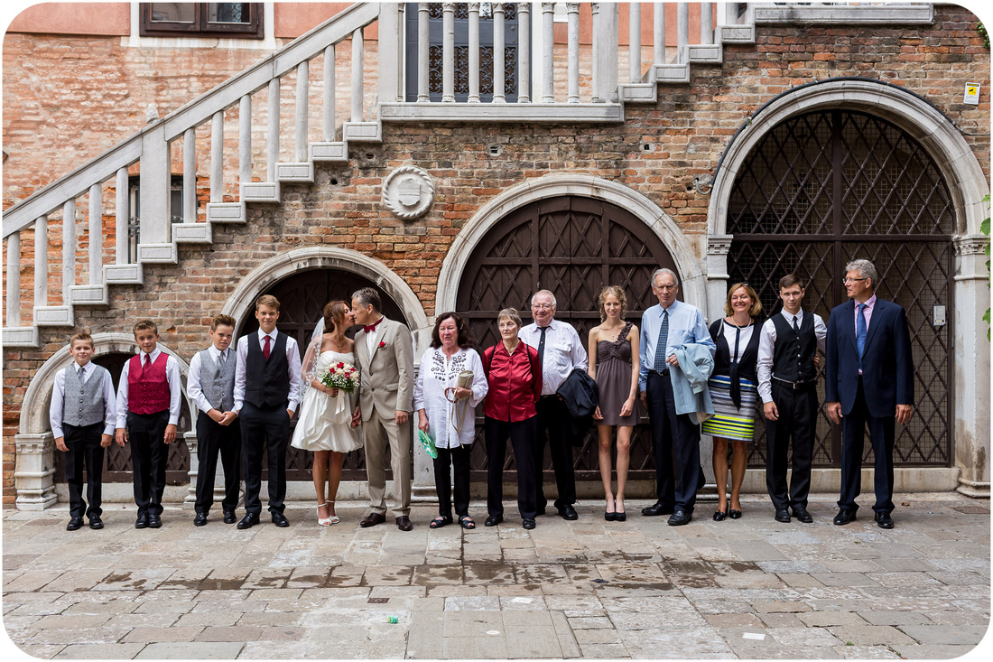 family portrait during wedding photo session in Venice with children