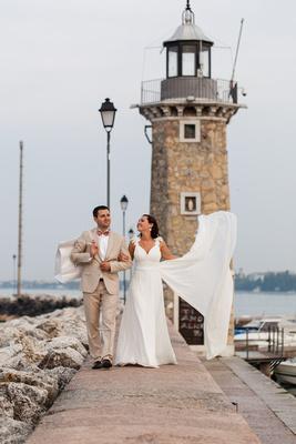 couple walking during honeymoon photo session